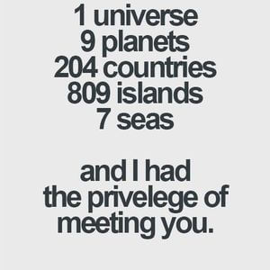 1 universe. 9 planets. 204 countries. 809 islands. 7 seas. And I had the privilege of meeting you. #BestFriend #Quotes