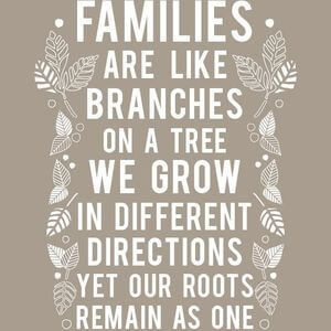 Families are like branches on a tree. We grow in different directions yet our roots remain as one. #Family #Quotes