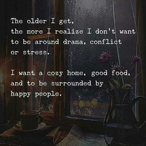 The older I get, the more I realize I don't want to be around drama, conflict, or stress. I want a cozy home, good food, and to be surrounded by happy people. #Family #Quotes