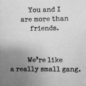 You and I are more than friends. We're like a really small gang. #Friendship #Quotes