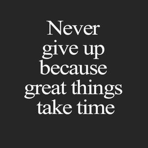 Never give up because great things take time. #Life #Quotes