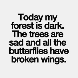 Today my forest is dark. The trees are sad and all the butterflies have broken wings. #Sad #Quotes
